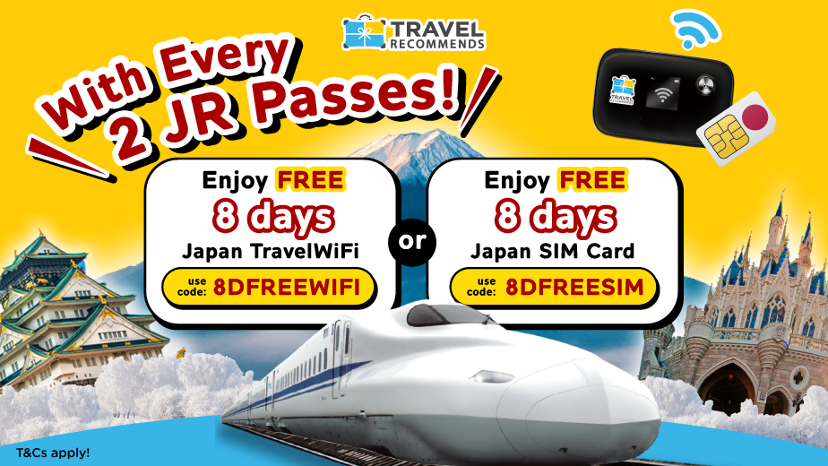 FREE Japan Travel WiFi or SIM Card with Every 2 JR Passes!
