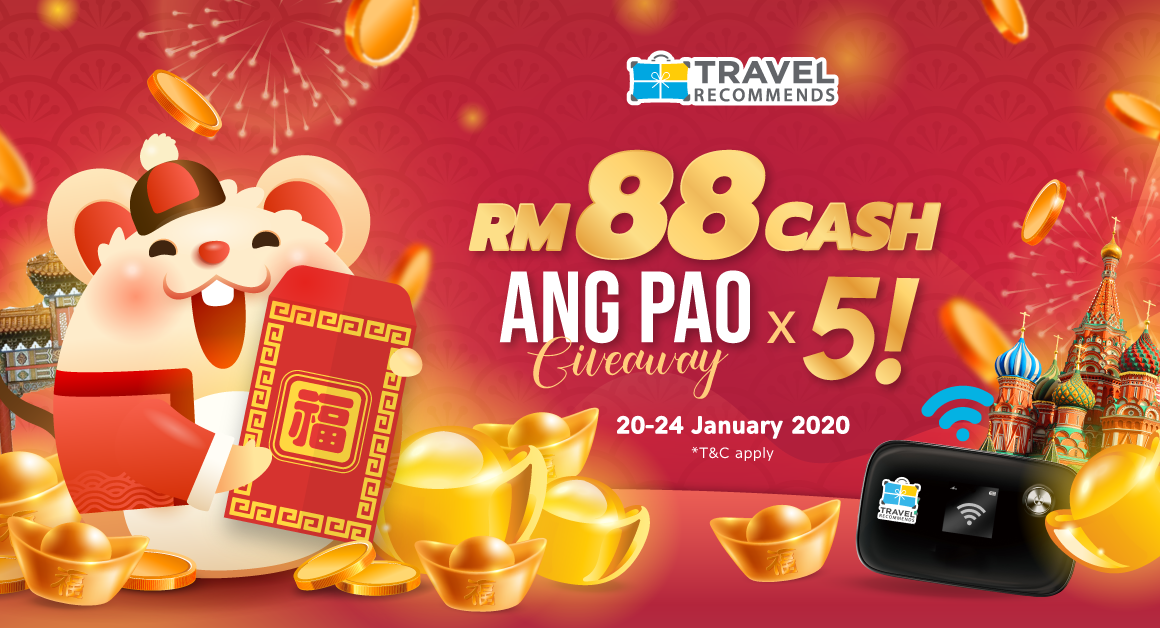 Travel Recommends RM 88 Cash Ang Pao Giveaway on Facebook!
