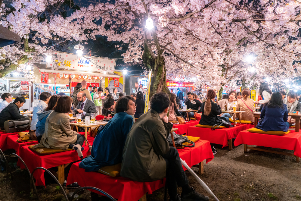 Japan crowds enjoy the spring cherry blossoms in Kyoto by partaking in seasonal night Hanami festivals in Maruyama Park at Kyoto, Japan